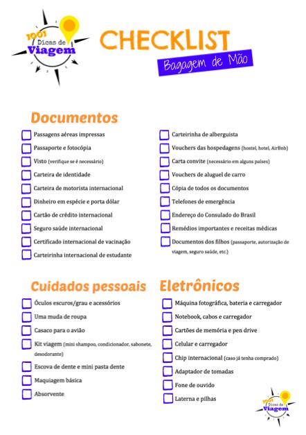 Checklist para organizar sua mala de mão